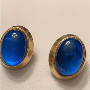 Vintage Oval Blue Cabochon Earrings